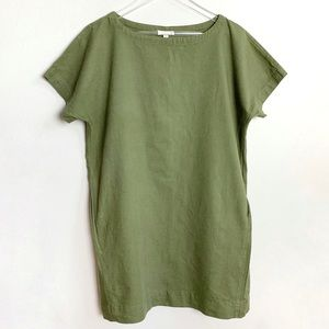 Eileen Fisher | Green tunic dress pockets Petite L
